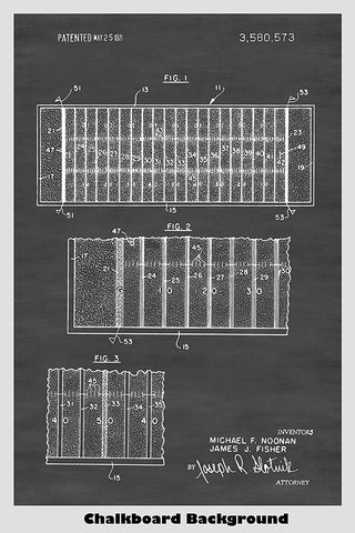 Football Field Poster Patent Print Art Poster