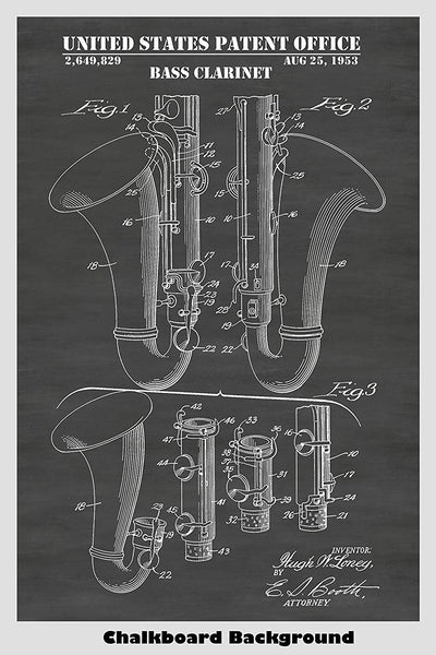 Bass Clarinet Patent Image shown on a chalkboard background
