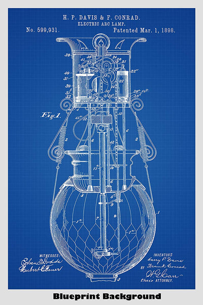 Electric Arc Lamp Patent Print Art Poster