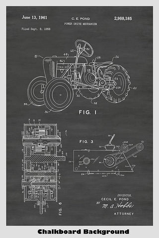 Vintage Farm Tractor Patent Print Art Poster