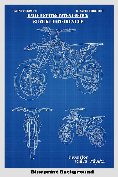 Suzuki Dirt Bike Motorcycle Patent Print Art Poster