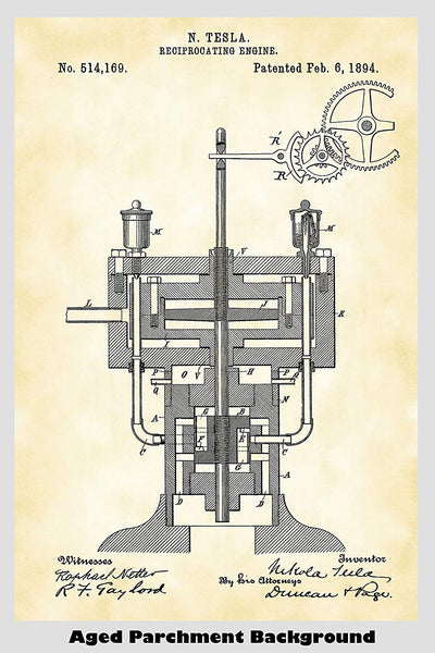 Nikola Tesla Reciprocating Engine Patent Print Art Poster