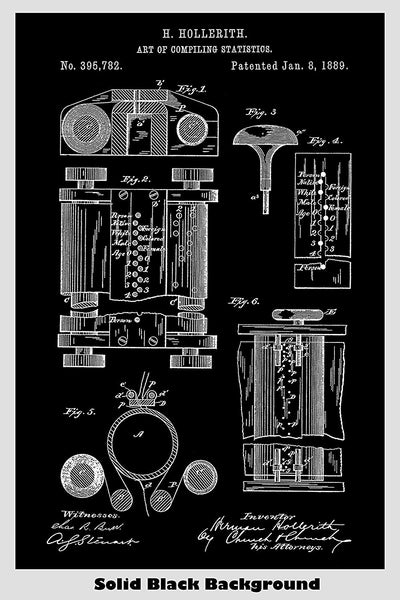 The First Computer: The Hollerith Compiling Statistics Machine Patent Print Art Poster
