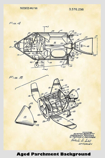 Space Ship Patent Print Art Poster