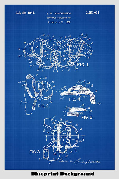 Vintage Football Shoulder Pads Patent Print Art Poster
