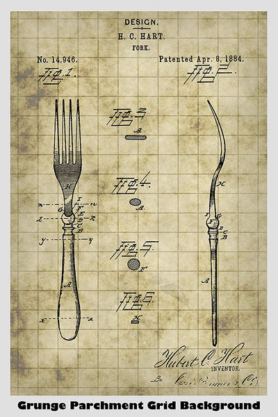 Kitchen Fork Patent Print Art Poster