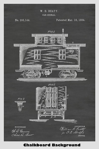 Train Car Caboose Patent Print Art Poster