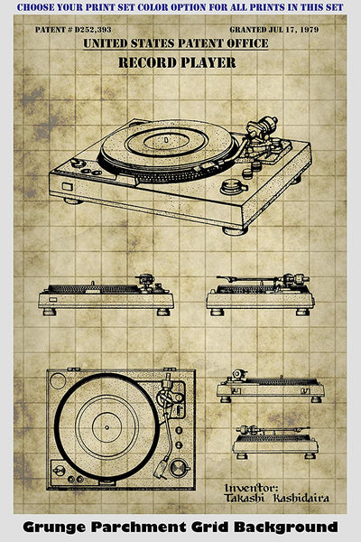 Record Player Turntable and Vintage Gramophone Inventions Patent Print Art Posters Wall Decor Collection