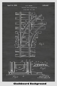Railroad Track Construction Patent Print Art Poster