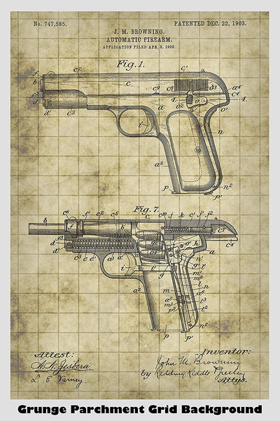 Browning Automatic Pistol Patent Print Art Poster