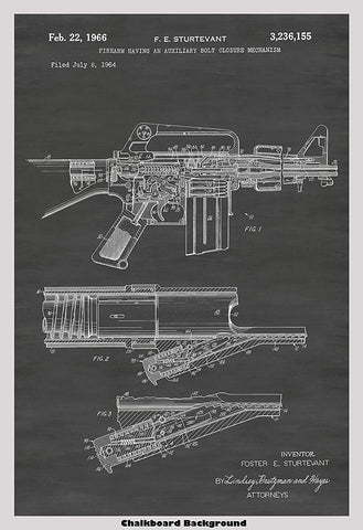 AR-15 Semi-Automatic Rifle Patent Print Art