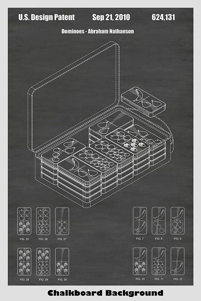 Dominoes Game Patent Print Art Poster