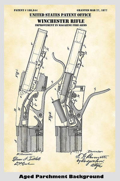 Antique Winchester Rifle Patent Print Art Poster