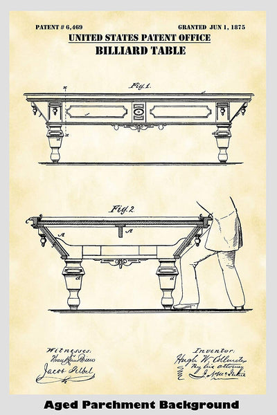Billiards/Pool Table Patent Print Art Poster