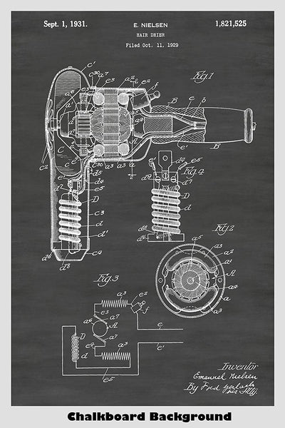 Hair Dryer (Blow Dryer) Patent Print Art Poster