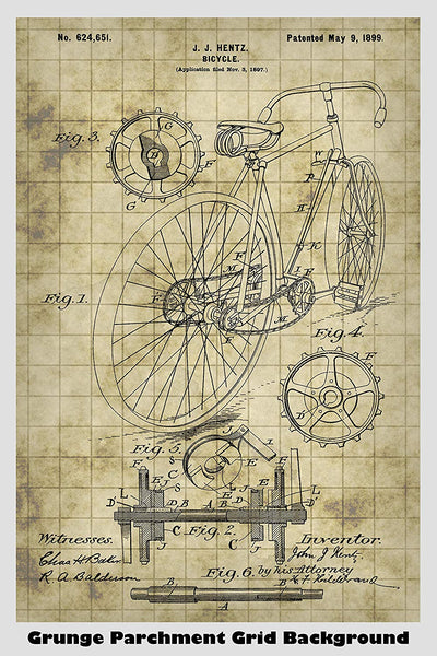 Antique Bicycle Gearing Drive System Patent Print Art Poster