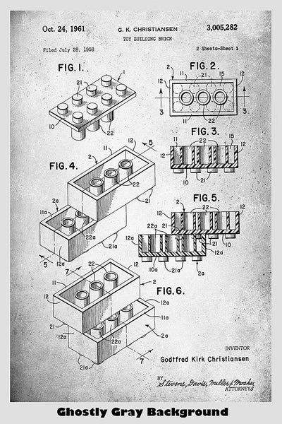 Original Lego Building Blocks / Bricks Patent Print Art Poster
