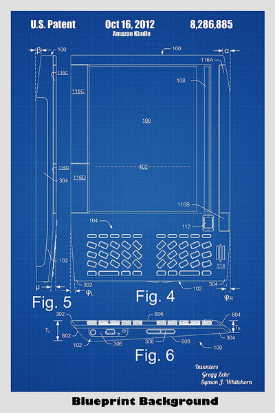 Amazon Kindle Ebook Reader Poster Patent Art Print