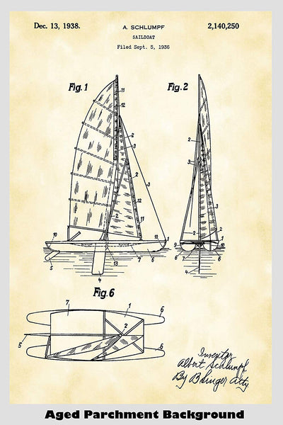 Cataraman Style Sailboat Patent Print Art Poster