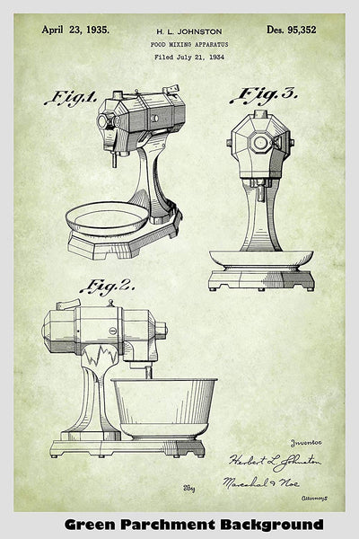 Antique KitchenAid Mixer Patent Print Art Poster