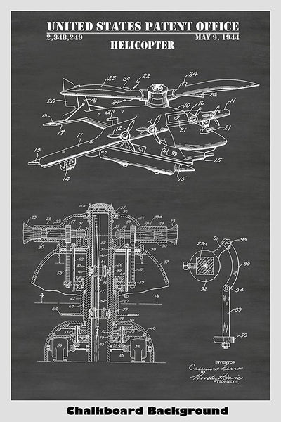 Helicopter Patent Print Art Poster