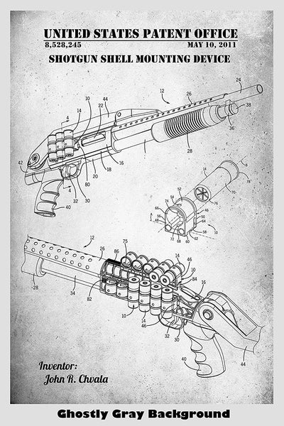 Shotgun Shell Mounting Device Patent Print Art Poster