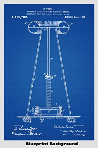 "Nikola Tesla Coil ""Over The Air Energy Transmitter"" Patent Print Art Poster"