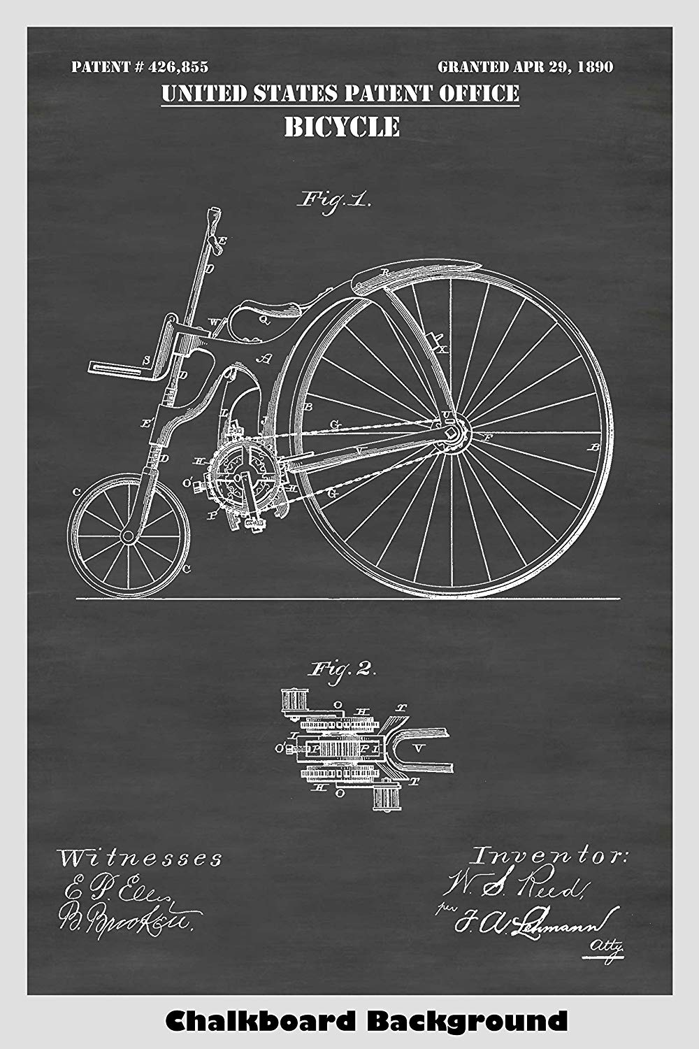 Victorian Steampunk Style 1890's Bicycle Patent Print