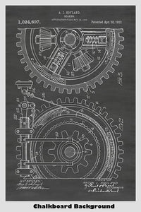 Gears/Gearing Industrial Patent Print Art Poster