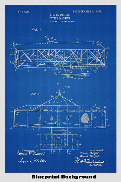 Wright Brothers Airplane Patent Print Art Poster
