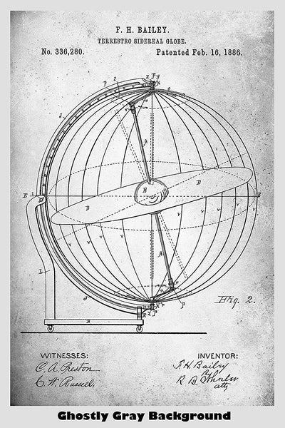 Antique Terrestro Sidereal Globe Patent Print Art Poster