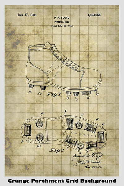 Vintage Cleated Football Shoes Patent Print Art Poster