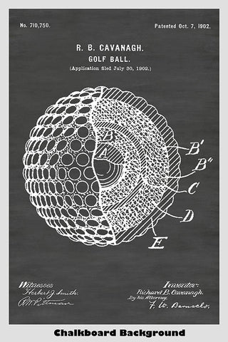 Antique Golf Ball Patent Print Art Poster