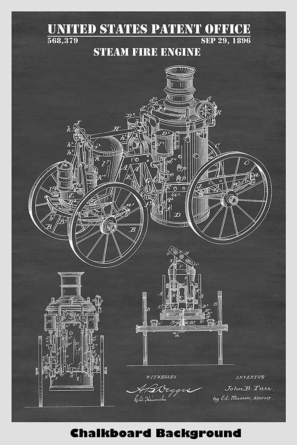 Victorian Era Steam Powered Fire Engine Patent Art