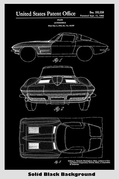 Corvette Stingray Patent Print Art Poster