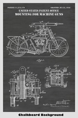 Motorcycle Machine Gun Patent Print Art Poster