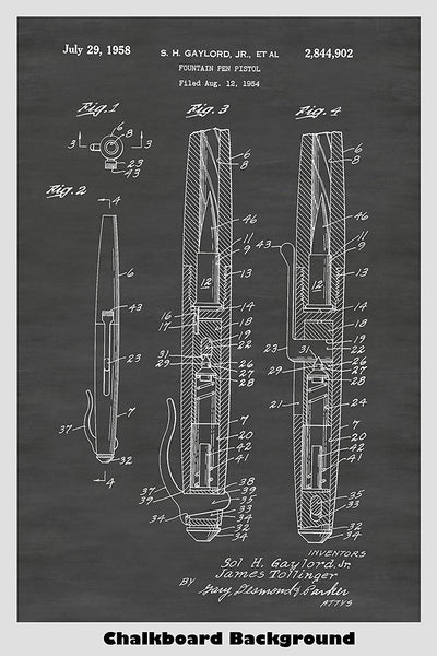 Spy Fountain Pen Pistol Gun Patent Print Art Poster