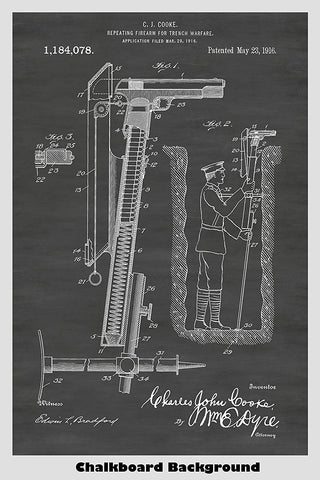 Trench Warfare Repeating Pistol Patent Print Art Poster