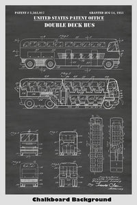 Double Decker Bus Patent Print Art Poster