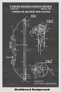 Compound Archery Bow System Patent Print Art Poster