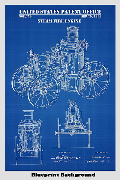 Antique Steam Fire Engine Patent Print Art Poster