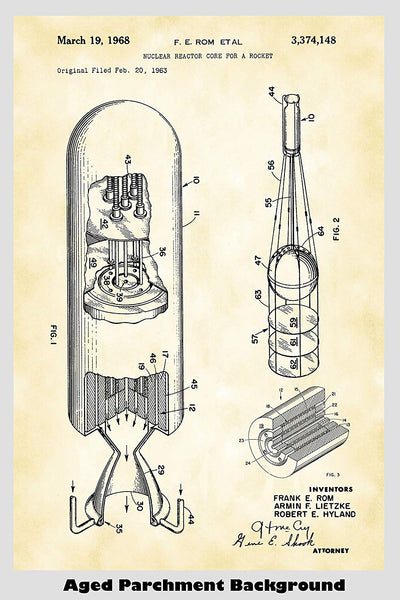 Nuclear Rocket Ship Patent Print Art Poster