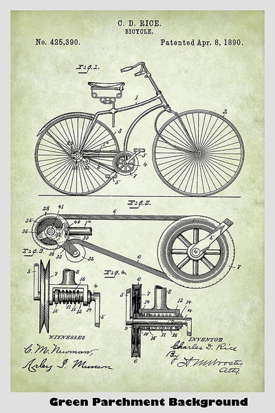 Antique Belt Driven Bicycle Patent Print Art Poster