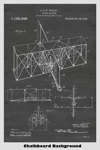 Early Wright Brothers Airplane Flying Machine Patent Print Art Poster