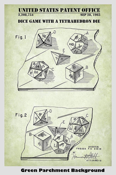 D20, D12, D8, D6, D4 Dice For Role Playing Game: Dungeons & Dragons, Pathfinder, MTG, Etc. Patent Print Art Poster