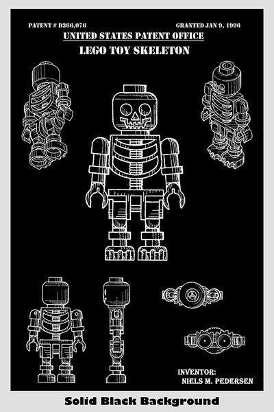 Lego Toy Skeleton Man Patent Print Art Poster