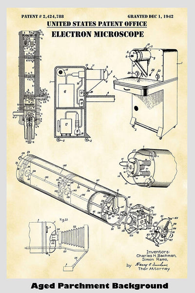 Electron Microscope Patent Print Art Poster