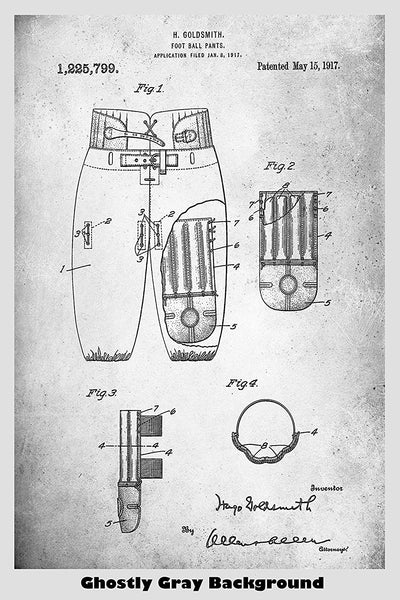 Football Pants With Protectors Patent Print Art Poster