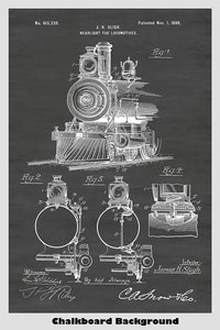 Train Locomotive Patent Print Art Poster