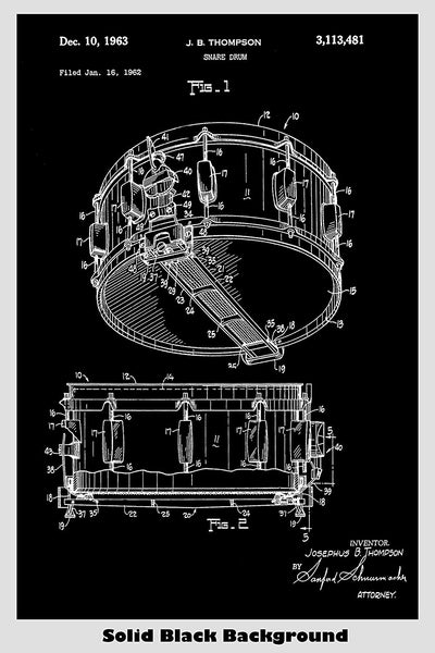 Snare Drum Patent Print Art Poster